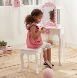 Teamson Kids Polka Dot Prints Gisele Vanity Table & Stool