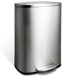 HDX 50L Stainless Steel Rectangle Step-On Trashcan