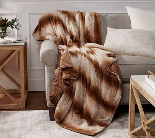 Dennis Basso Oversized 60 x 70 Luxury Plush Faux-Fur Throw