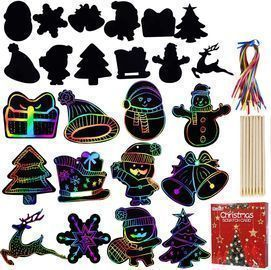 Max Fun Rainbow Color Scratch Christmas Ornaments (96 Count)