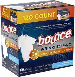 Bounce WrinkleGuard Mega Dryer Sheets, 120 Count