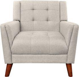 Evelyn Mid Century Modern Fabric Arm Chair, Beige & Walnut
