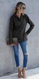 Cowl Neck Sweatshirt w/ Asymmetrical Quarter Zip