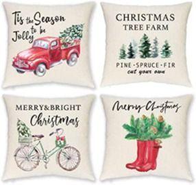 Set of 4 18x18 Farmhouse Christmas Pillow Covers