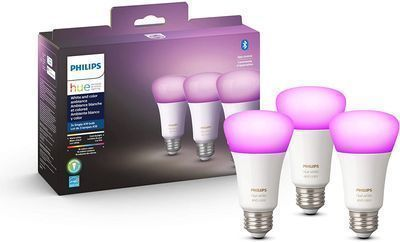 3-Pack Philips Hue White & Color Ambiance A19 Bluetooth LED Smart Bulbs