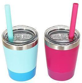 Set of 2 Stainless Steel Sippy Cup with Lid and Straw