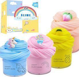 4 Pack Fluffy Slime Scented Unicorn Butter Slime