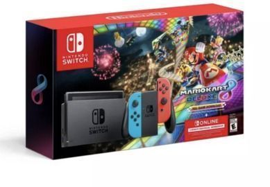 Limited Stock: Nintendo Switch Joy-Con Neon Blue/Red + Mario Kart 8 Deluxe + 3 