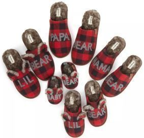 Dearfoam Buffalo Check Family Bear Slippers
