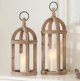 Home Decorators Collection Antiqued Wood Lanterns - Set of 2