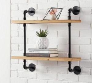 Wood & Black Metal Pipe Wall-Mount Bookshelf
