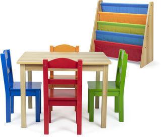 Kids Book Rack, 5pc Table & Chair Set