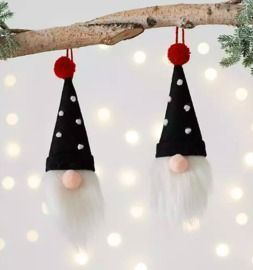 Black Hat Gnome Ornaments - Set of 2