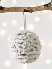 Gray Faux Fur Ball Ornament