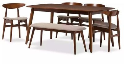 Brown Wood Mid-Century Modern Dining Set