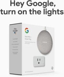 Google Nest Mini (2nd Gen) Google Assistant in Chalk + Smart Plug Bundle
