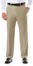 Haggar Cool 18 Pro Classic Fit Flat Front Hidden Expandable Waistband Pants