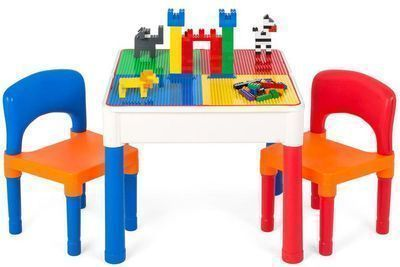 3-in-1 Kids Building Block Activity Play Table Set w/ 2 Chairs