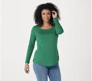 Isaac Mizrahi Live! Essentials Pima Shirttail Hem Top