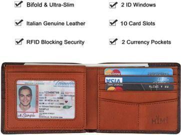 Mens Wallet Leather RFID Blocking Bifold w/ID Window