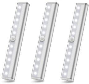 3-Pack 10 Led Motion Sensor Stick On Light Bars