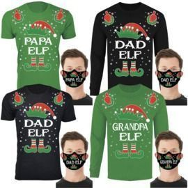 Family Elf Christmas T-Shirts / Long Sleeve Shirts with Free Mask