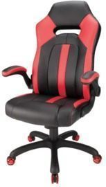 Realspace Bonded Leather High-Back Gaming Chair, Red/Black