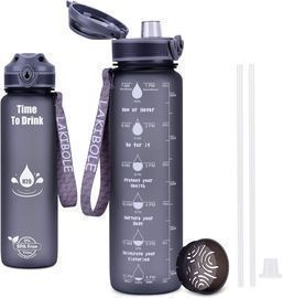 32 oz Water Bottle with Straw & Time Marker