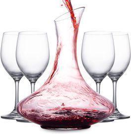Wine Aerator Decanter & 4 Red Wine Glasses