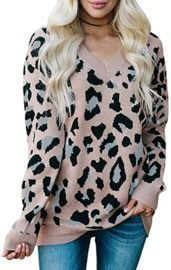 Women's Leopard Print Oversized Pullover