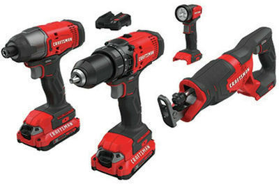 Craftsman 20V Li-Ion 4-Tool Combo Kit (Certified Refurbished, CMCK400D2R)