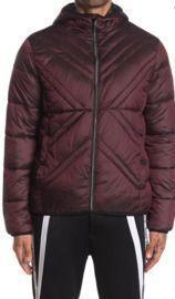 Karl Lagerfeld Paris x Quilted Full Zip Men's Hooded Jacket