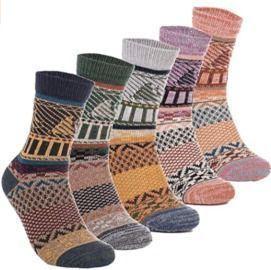 Women's 5 Pairs of Vintage Style Wool Winter Crew Socks