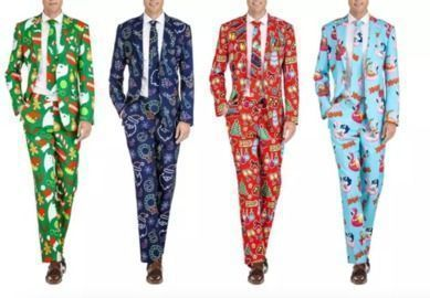 Braveman Men's Classic fit Christmas Suits with Matching Tie