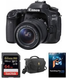 Canon EOS 80D DSLR Camera w/ 18-55mm Lens and Accessory Kit