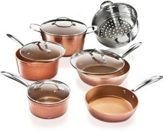 Gotham Steel 10 Pc. Hammered Copper Non Stick Cookware Set