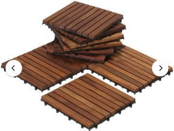 EZ-Floor 12 x 12 Teak Wood Snap-In Deck Tiles