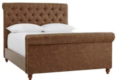Fenmore Tufted Upholstered Bonded Leather Queen Sleigh Bed