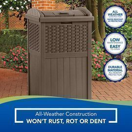 Suncast 33G Hideaway Can Resin Outdoor Trash with Lid