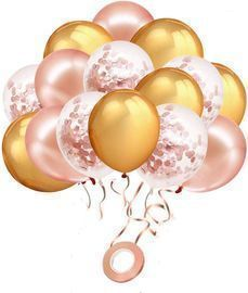 Rose Gold Confetti Balloons, 60 Pack