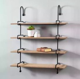 Wood and Slatpipe 4-Tier Wall Shelf