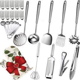 Steel Kitchen Utensils Set - 26 Pcs