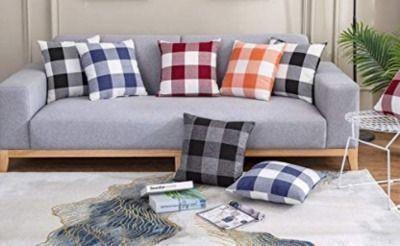 2 Pack of Farmhouse Decorative Buffalo Check Plaid Pillow Covers
