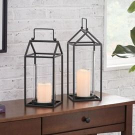 StyleWell Black Metal and Glass Candle Lantern - Set of 2