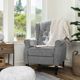 Tufted Upholstered Wingback Push Back Recliner Armchair