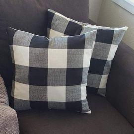 Burlap Buffalo Checkers Throw Pillow Covers