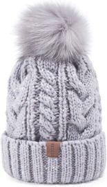 Winter Pompom Beanie Hat with Warm Fleece