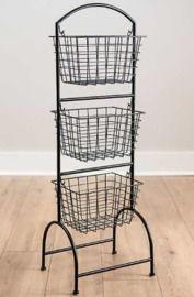 Black Metal Basket Stand