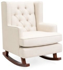 Tufted Upholstered Wingback Rocking Chair