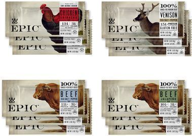 12 EPIC Bars, Variety Pack (Chicken, Beef, Venison), Keto-Friendly